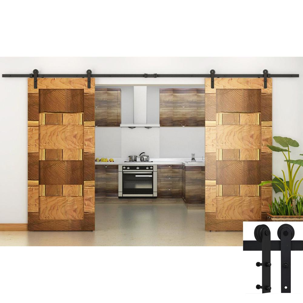 2017 Straight Design Antique Black Wooden Double Sliding Barn Closet Door Heavy Duty Modern Wood