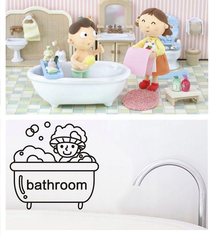 Cute Cartoon Kid In Shower Funny Bathroom Mirror Glass Wall Sticker Switch Living Room Bedroom