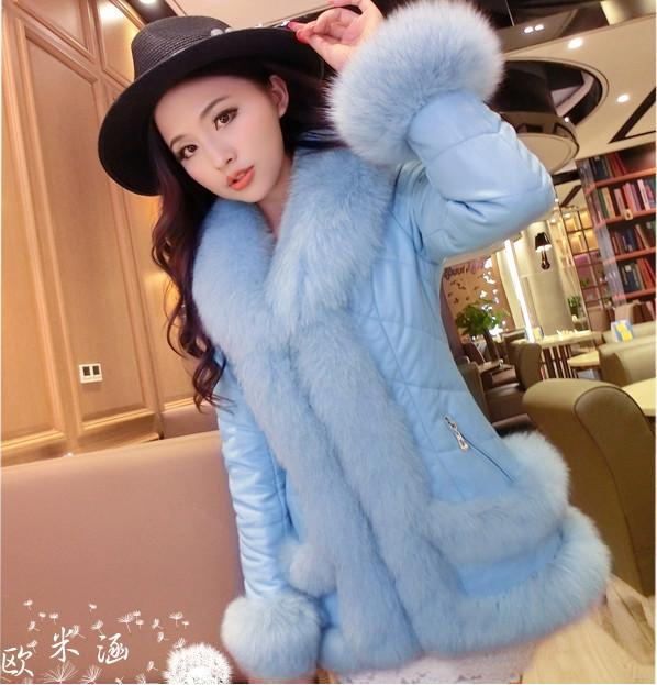 2017 2015 New Europe Fashion Slim Big Real Fox Fur Coat Sheepskin ...