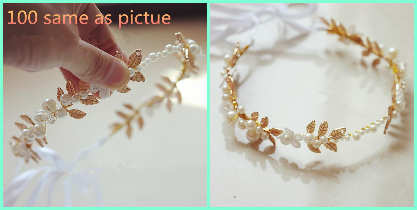 Bridal jewelry tiara - Gold Bridal Jewelry Pearl Leaves Tiara Exquisite Wedding Accessories Attractive Birthday Gifts Unique High Quality Party