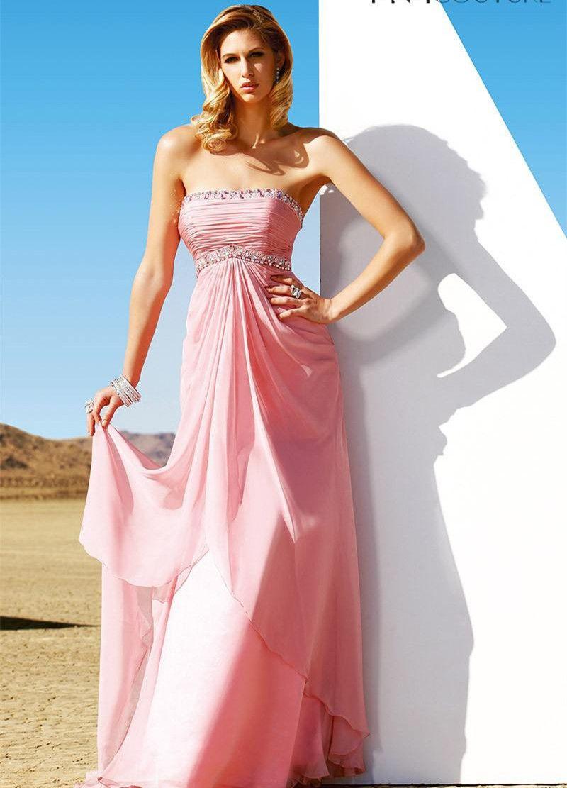 2015 Strapless Pink Bridesmaid Dresses Beach Wedding Chiffon Beading Ruched Bridesmaids Dress