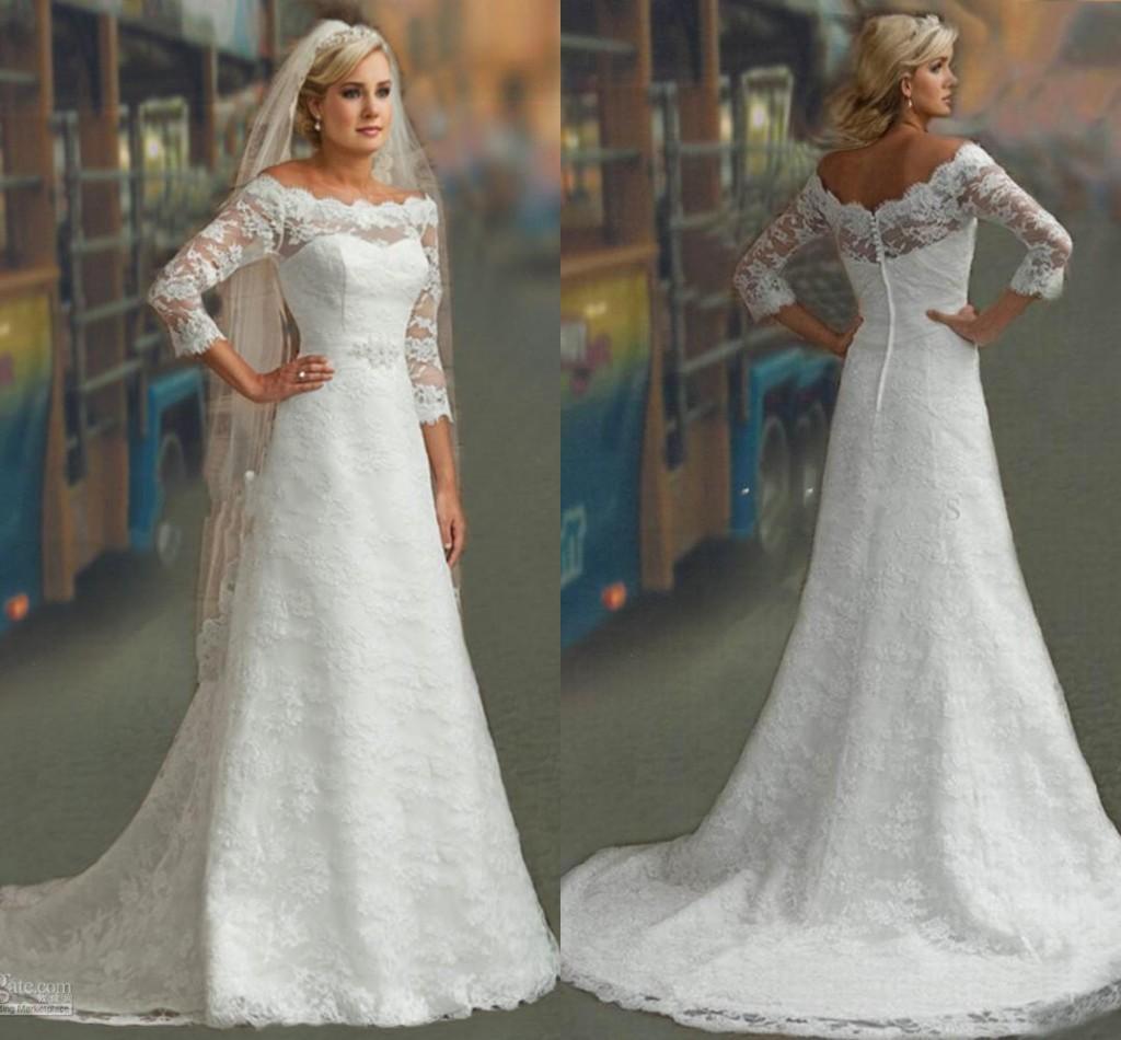 2016 New Modest 3 4 Long Sleeves Wedding Dresses White