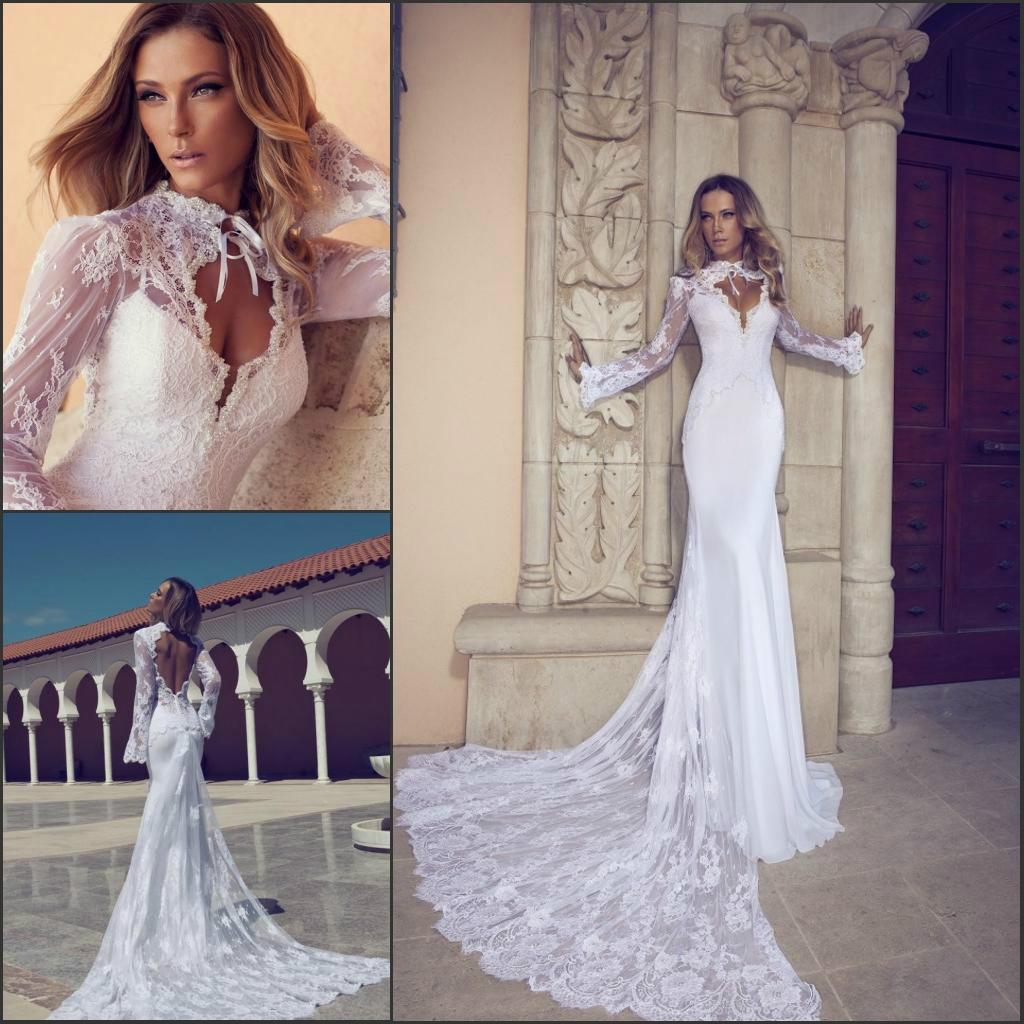 2014 Julie Vino New Design Sheath Bridal Gown Lace High