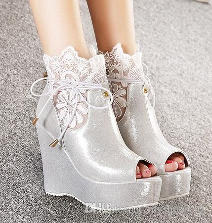 Embroidered White Silver Lace Wedge Wedding Shoes Elegant Peep Toe ...