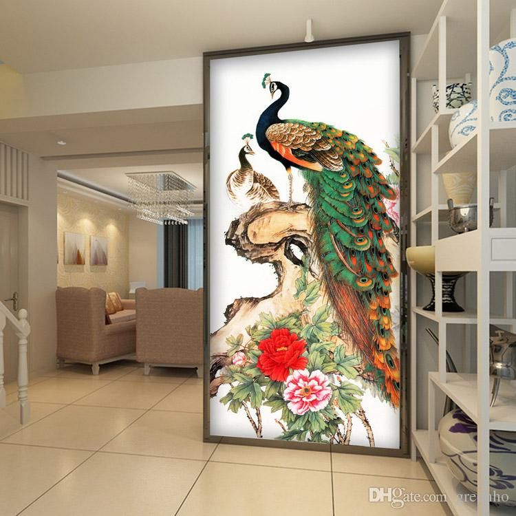 Vintage peacock wallpaper peony flower wall mural 3d photo for Chinese wall mural