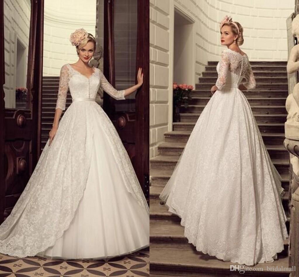 Discount Vintage 2016 Ivory Lace Wedding Dresses With Half