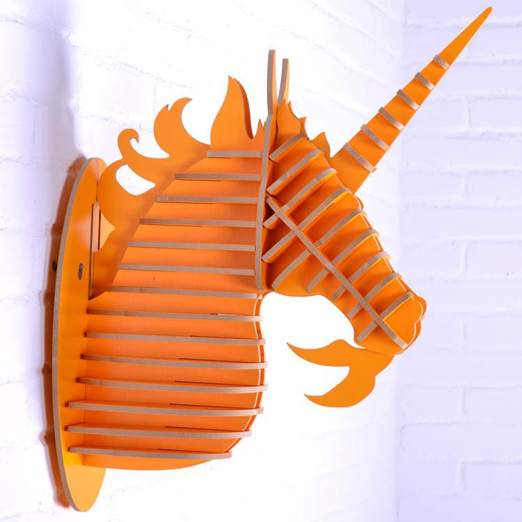 Easy Assembly Diy 3d Wood Unicorn Head Art Home Decor Europe Fashion Animal Head Novelty Crafts Items Hanging Wall Decor Real Black Candle Black Candles