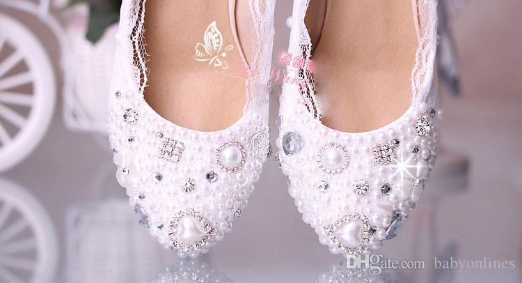 Оптом - Выполненные на заказ белые Свадебная обувь 2015 Кружева Свадебная обувь 5 CM Высокие каблуки Украшенные Кристалл Жемчуг Rhinestone Женщины Насосы