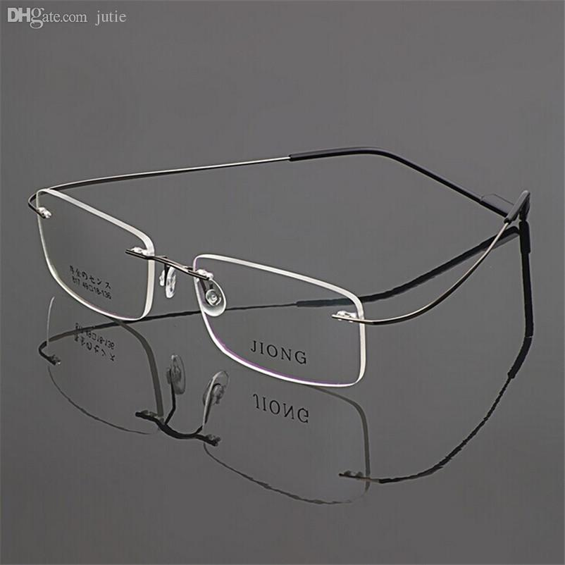 wholesale rimless silhouette glasses memory eyeglasses alloy women men glasses frame optical frames oculos flexible prescription myopia glasses frame