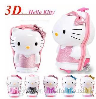 2015 Cartoon Hello Kitty Suitcase Zip Trolley Cartoon Children ...