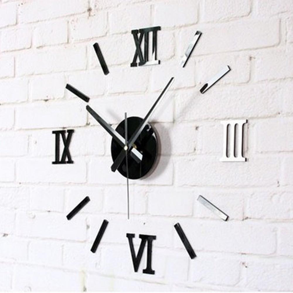 Modern 3d wall clocks sticker removable wall decal art for Clock wall mural