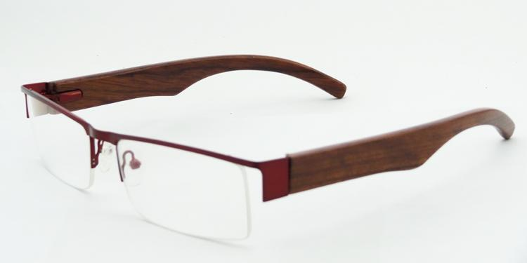 Half Frame Wood Glasses : Half Rim Metal Frame Glasses Wooden Optical Frame/Eyewear ...