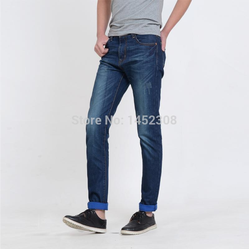 Best 2015 Fashion Straight Jeans Men Roll Up Hem Slim Jeans Denim ...
