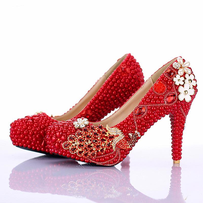 red pearl bridal shoes 2016 new design phoneix girl wedding shoes 4 inch high heel anniversary