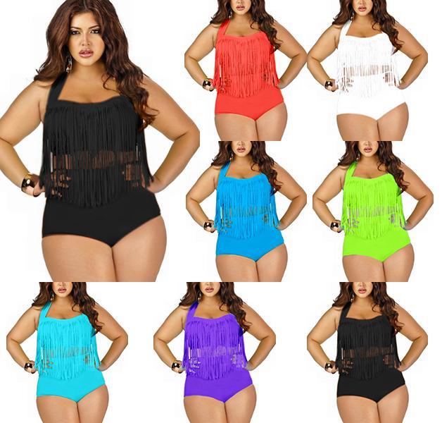 2017 newest summer plus size tassels bikinis high waist sexy women