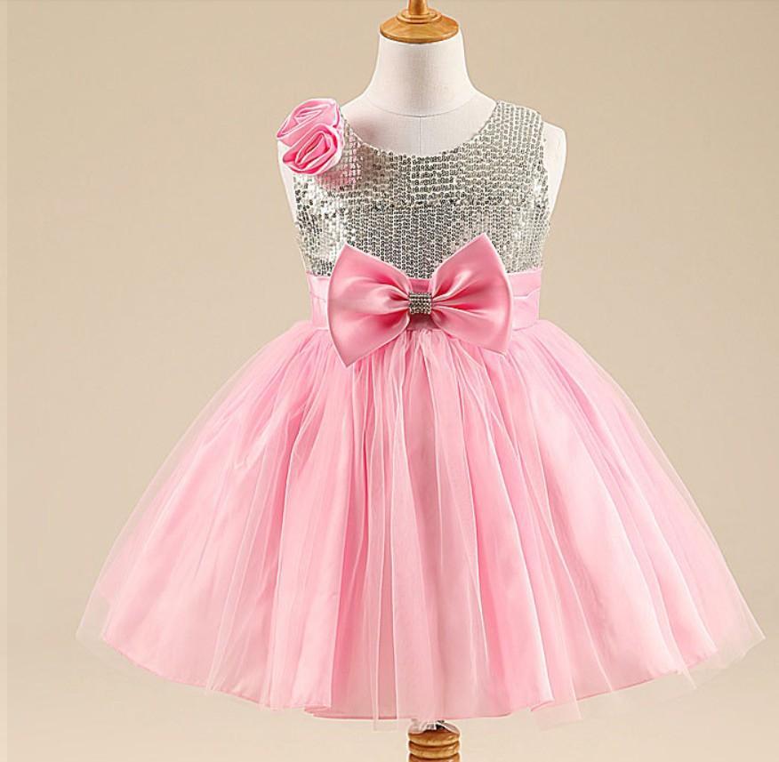 Girl dresses for wedding party bling bowknot princess tutus girl dress
