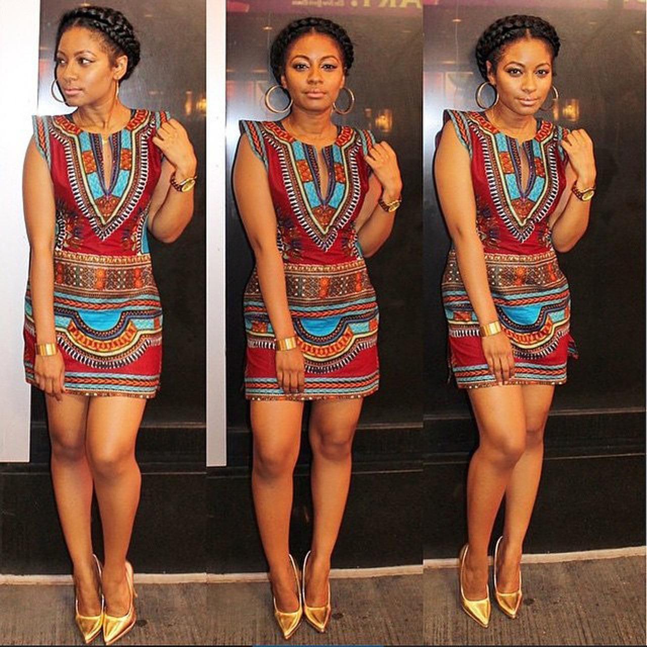 Nigerian fashion styles for women - Summer Fashion Nigerian Style Women Short Sleeve Tribal Print Mini Dress Vintage Sexy Ethnic Geometric Bodycon Casual Dress Robe Femme 22462 Tribal Print