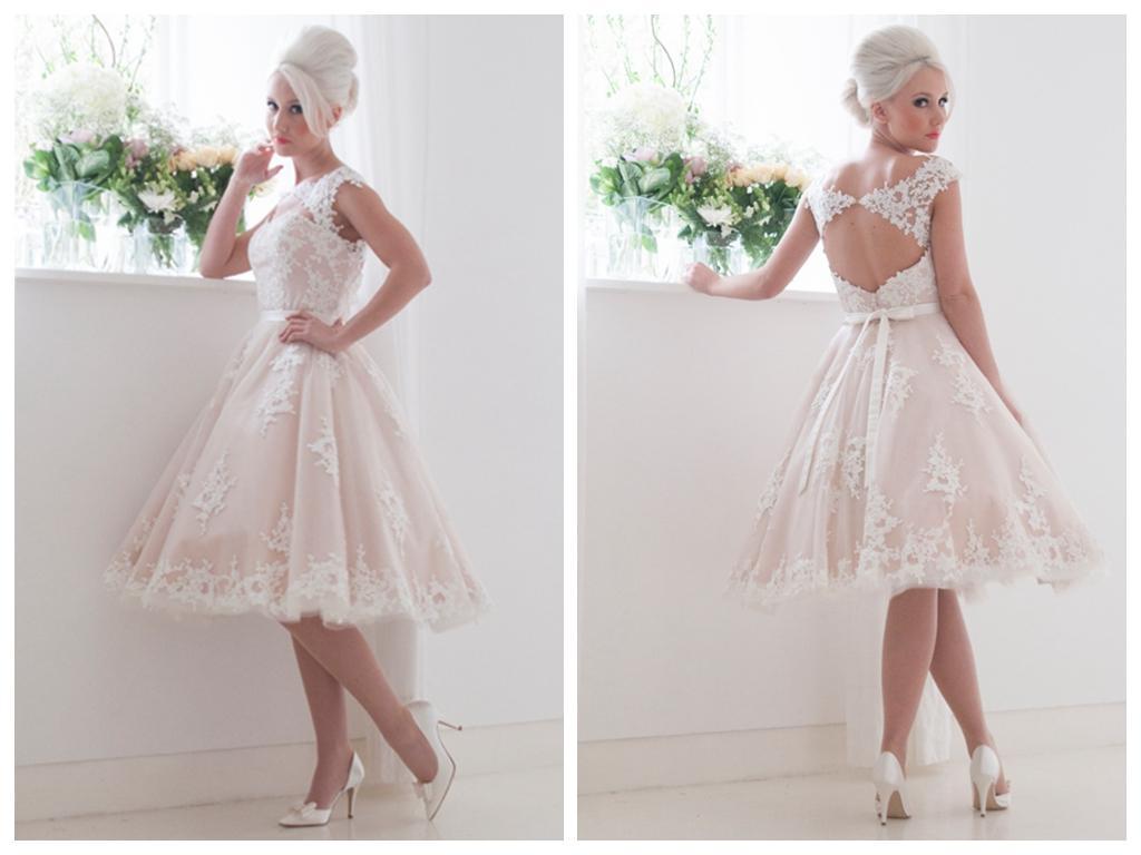 Short beach wedding dresses 2015 knee length bateau for Knee length beach wedding dresses