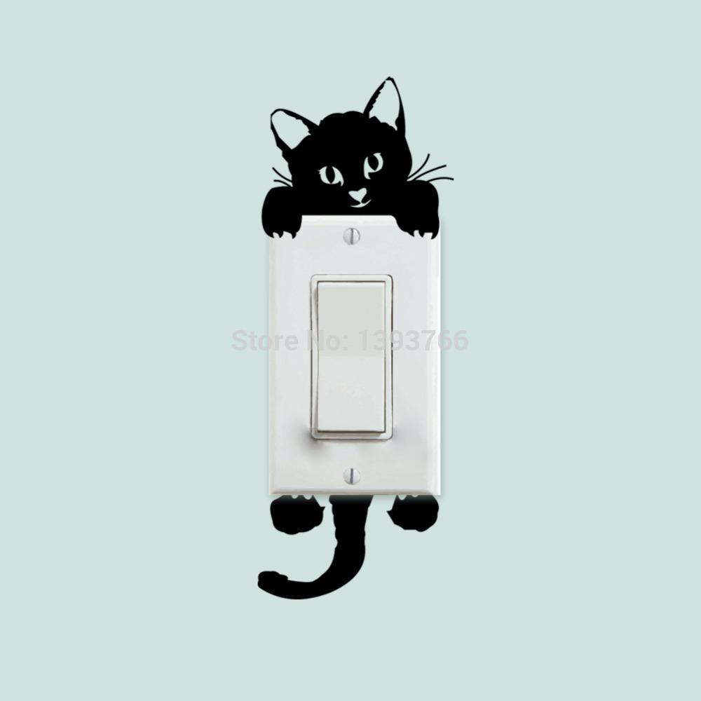 diy funny cute cat switch stickers wall stickers home decoration diy funny cute cat switch stickers wall stickers home decoration bedroom parlor decoration