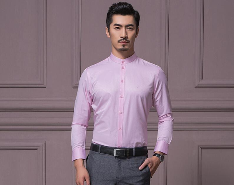 Men's Business Casual Long Sleeve Shirt Pure Color Fashion ...