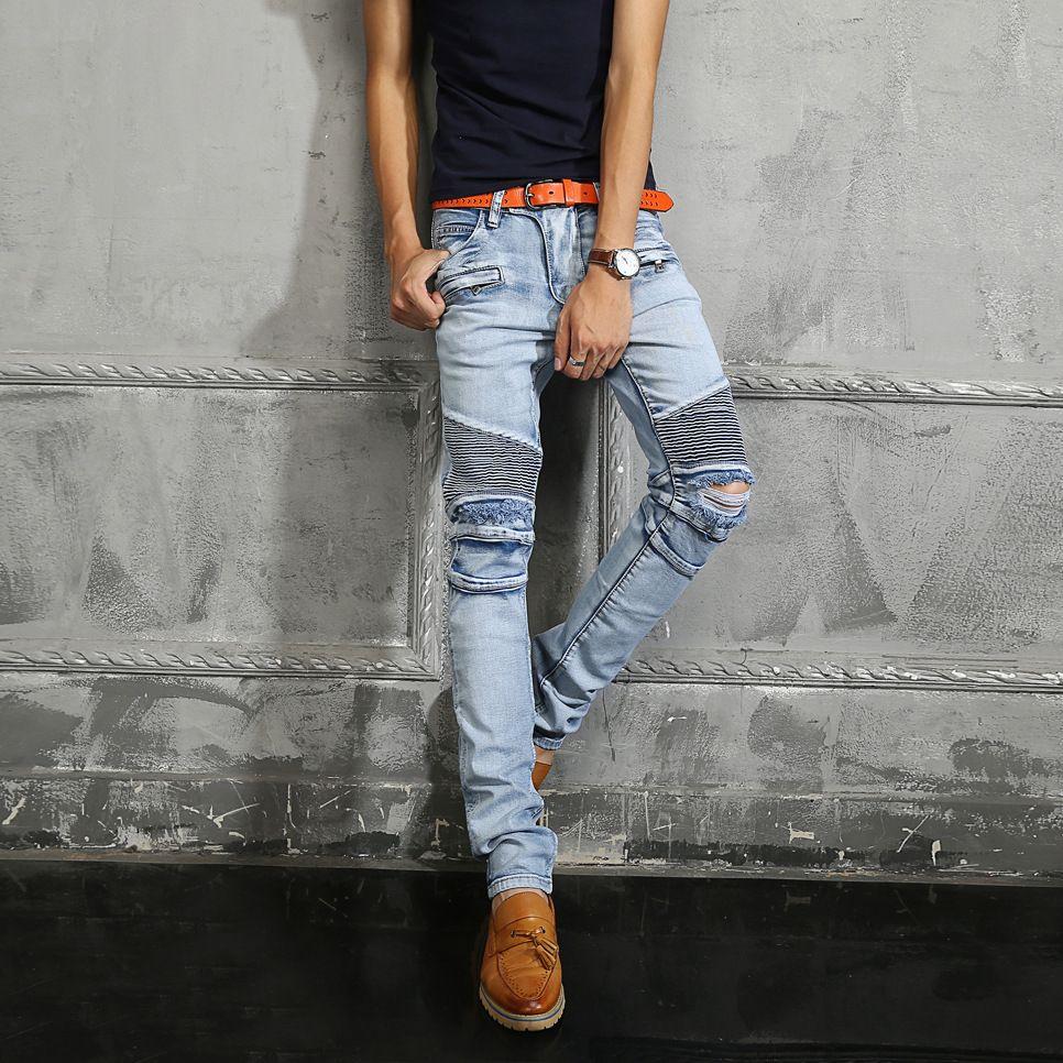 2018 2016 luxury brand balmain jeans man motorcycle biker jeans torn knee bleached jeans brand. Black Bedroom Furniture Sets. Home Design Ideas