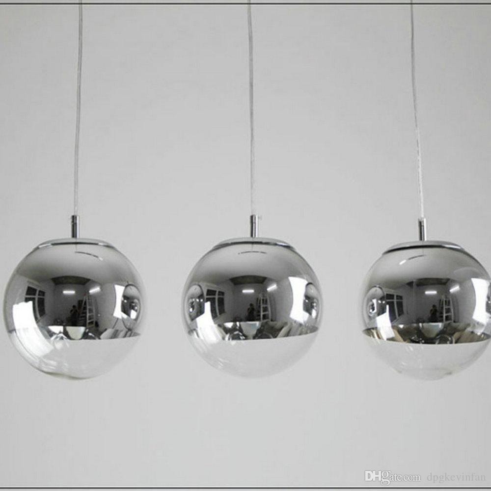 Vente en gros moderne tom dixon miroir verre boule pendante lumières restaurant chrome globle pendentif lampe cuisine dia 15cm 20cm 25cm 30cm 35cm