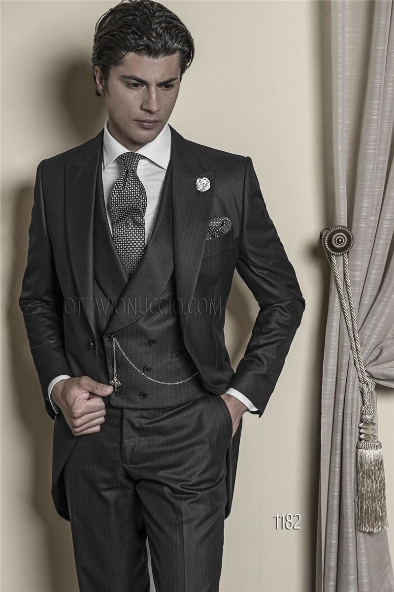 Brand New Peak Lapel Charcoal Tailcoat Trim Fit Groom Tuxedos ...