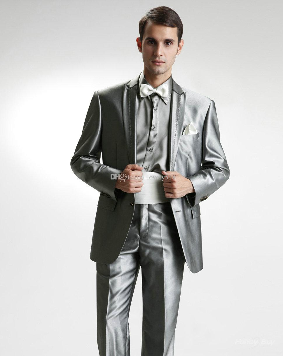 Custom Made Groom Tuxedos Peak Lapel Best Man Suit Shiny Silver