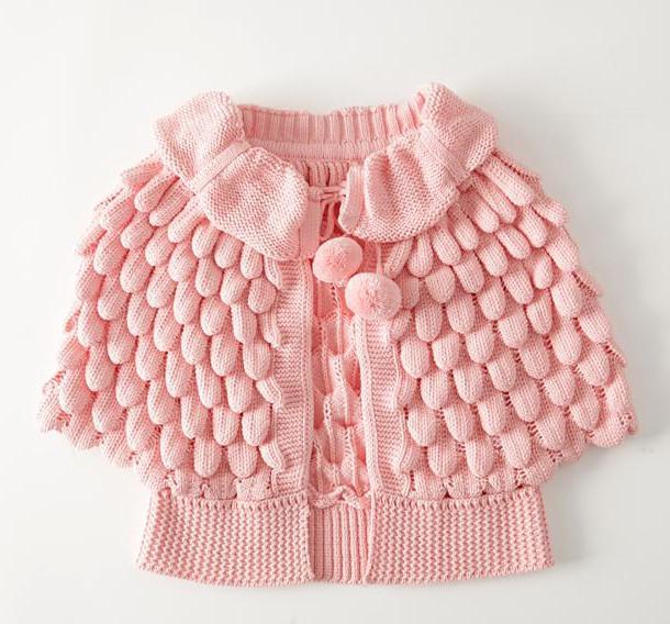 Kids Girls Knit Puff Cardigan Baby Girl Batwing Poncho ...