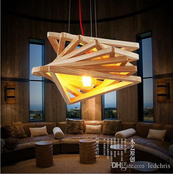 Novelty Modern Handmade Wood Pendant Lights For Bar Restaurant Dining Room Living Home Lamp Fixture Lighting Led Craft Lig Single