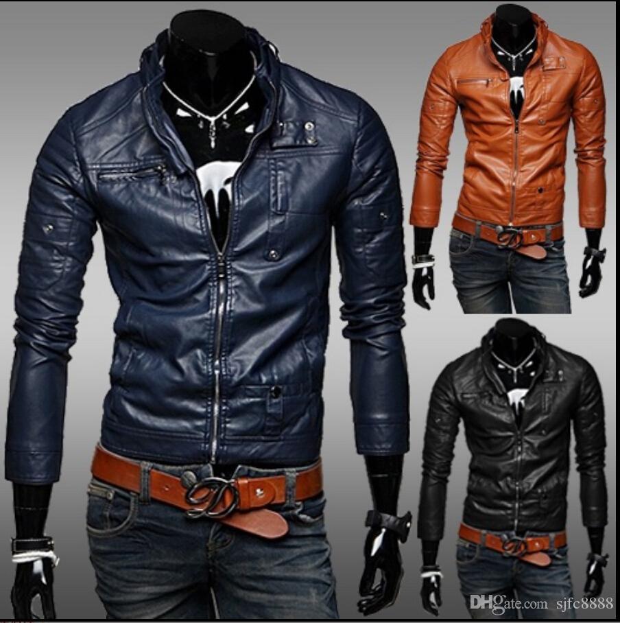 Mens jacket online - Mens Blue Leather Moto Jacket