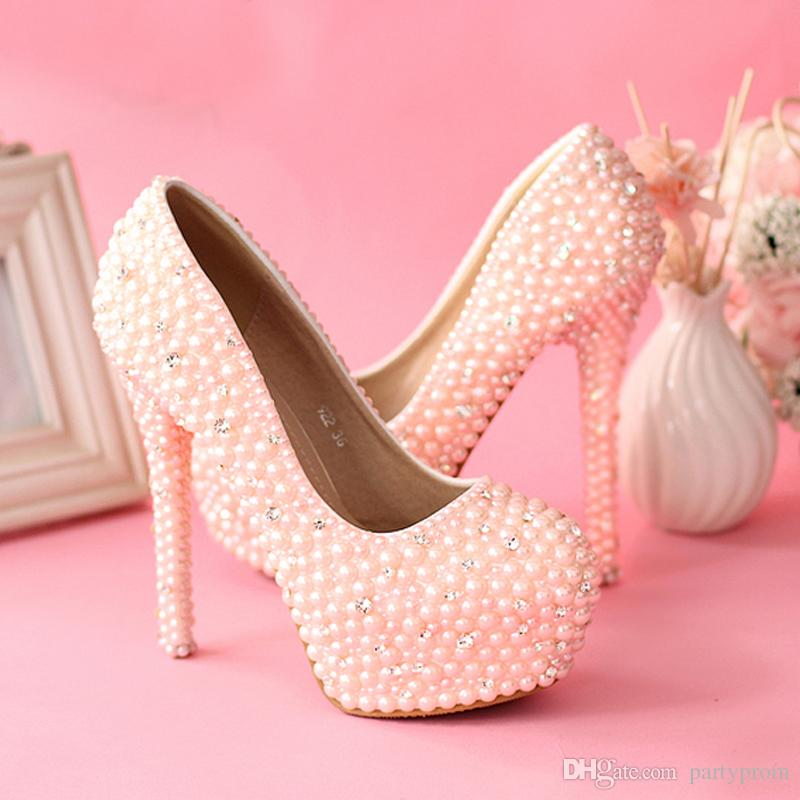 sweetness pink pearls wedding shoes women rhienstone pumps. Black Bedroom Furniture Sets. Home Design Ideas