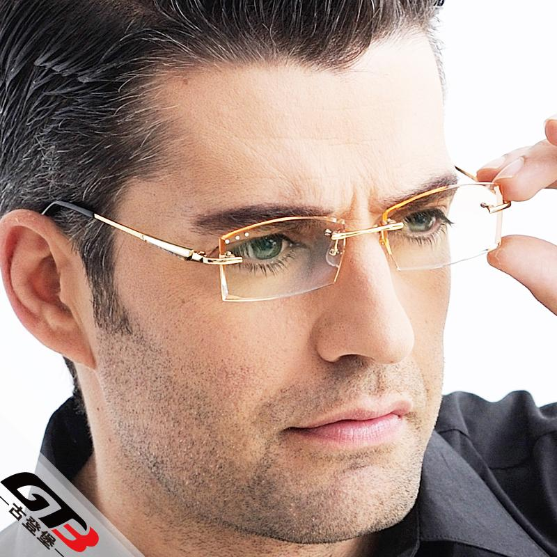 Diamond Myopia Glasses Men Rimless Titanium Eyeglasses ...