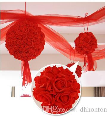 Wedding Silk Kissing Ball 11 Inch Flower Ball Decorative Flower