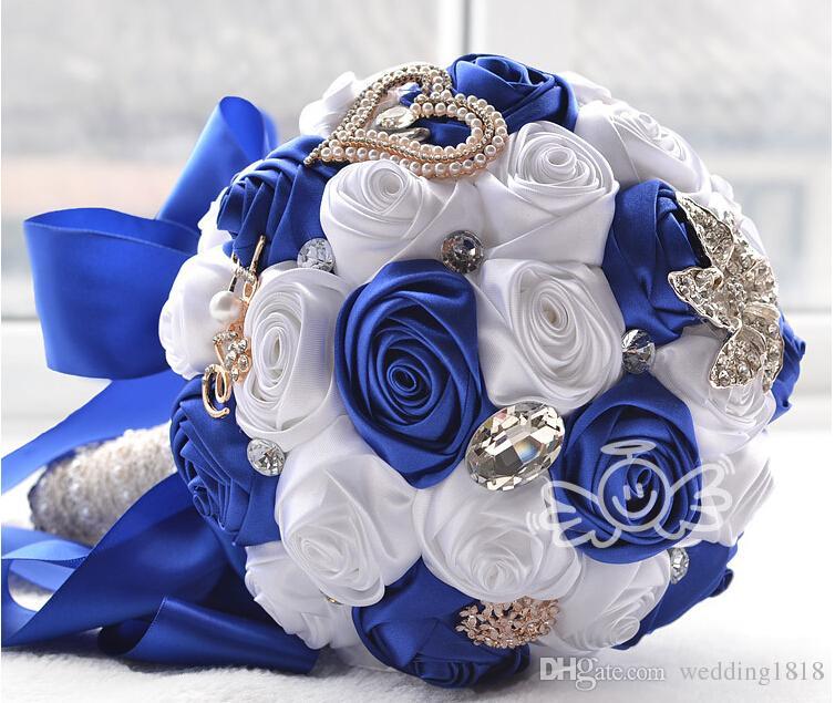 bridal wedding bouquet high quality royal blue white wedding decoration artificial bridesmaid. Black Bedroom Furniture Sets. Home Design Ideas