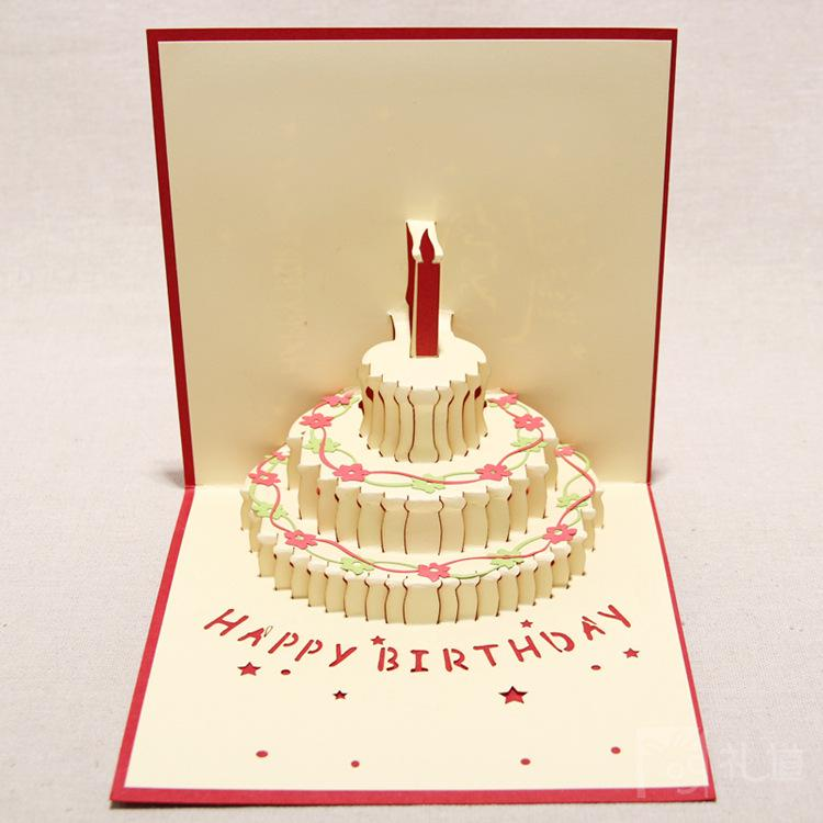 Handmade Kirigami Origami 3D Pop UP Birthday Cards with Candle – Cheap Birthday Card