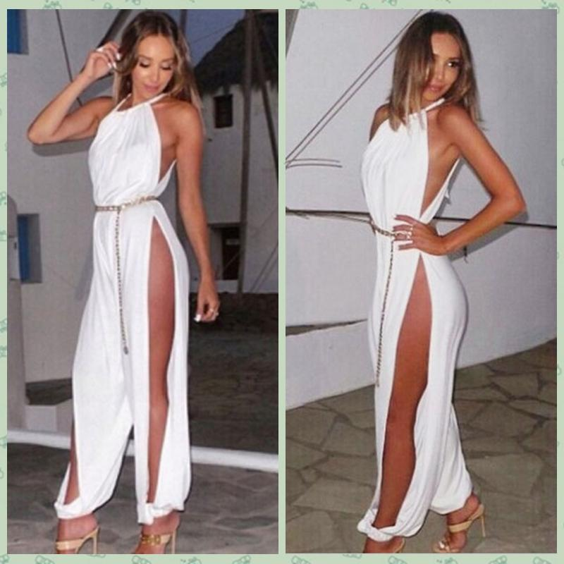 2017 New Fashion Leg Side Split Jumpsuits For Women Casual Sexy ...