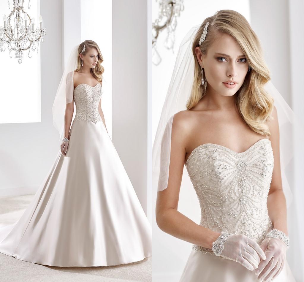 2016 satin wedding dresses by nicole spose strapless for Nicole spose wedding dress prices