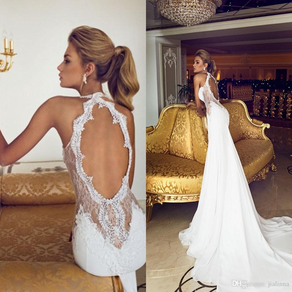Charming 2015 open back vintage lace wedding dresses for Sexy open back wedding dress