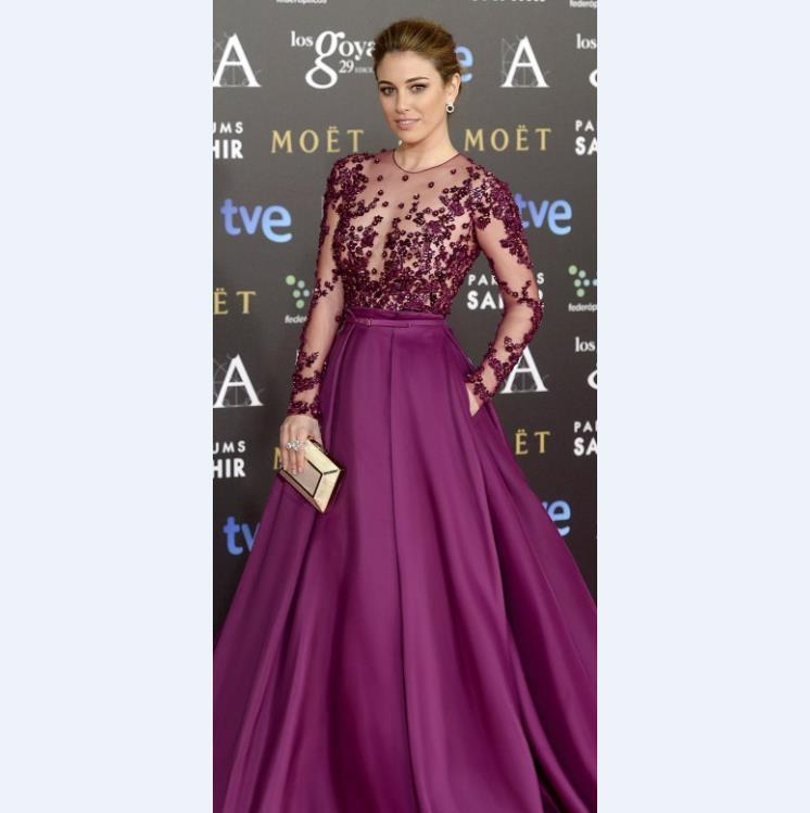 Noble Purple Celebrity Red Carpet Runway Dresses With Sheer Long ...
