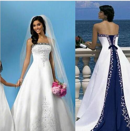 Discount 2016 White And Blue Satin Wedding Dresses A Line Royal Bandage Women Embroidery Vintage
