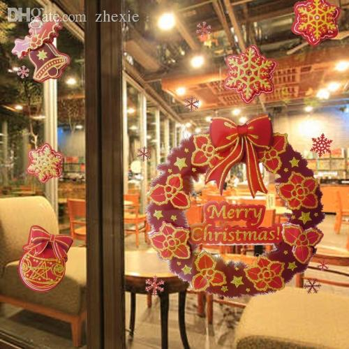 Wholesale christmas garland bow snow glitter wall stickers