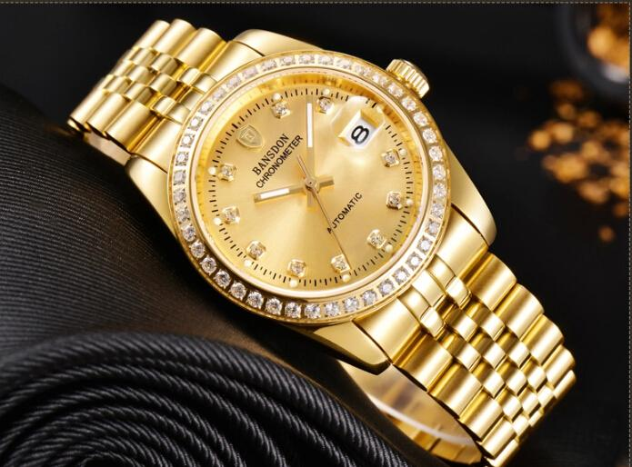 mechanical designer watches top luxury domineering men classic mechanical designer watches top luxury domineering men classic watch diamond calendar plated 18 k gold 316l