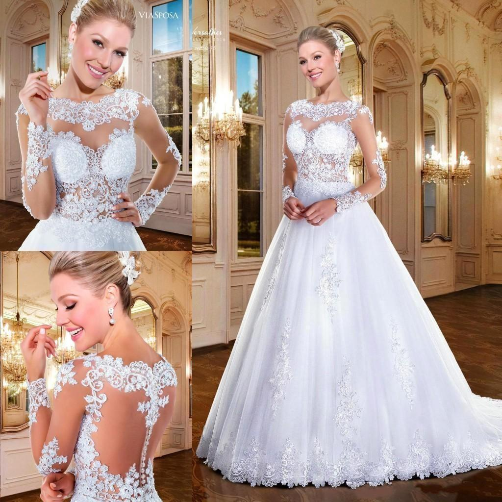 Luxury Lace Long Sleeve Wedding Dresses 2016 Sheer Neck