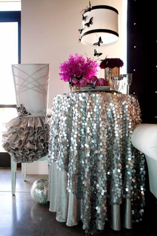 72 Round 18mm Silver Big Sequin Tablecloth For Wedding Party Events