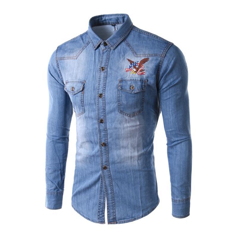 Hot Sale New Sky Blue Men Shirt Chemise Homme Spring Fashion ...