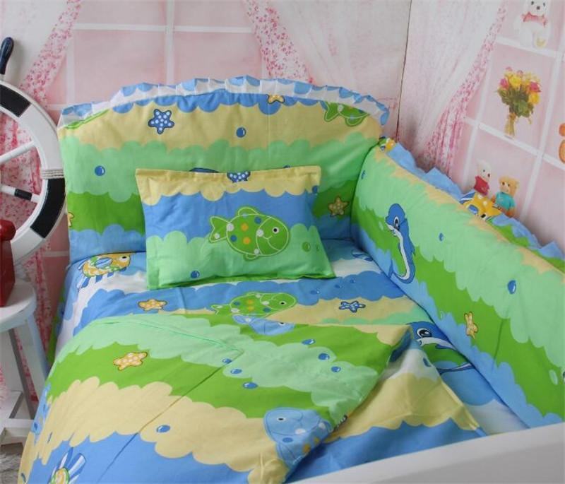Cartoon animal lovely fish nursery bedding set baby girl for Fish crib bedding
