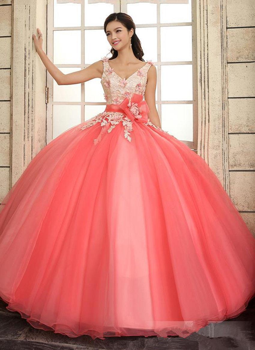 Cheap 2015 Coral Quinceanera Dresses Straps V Neck Floral ...
