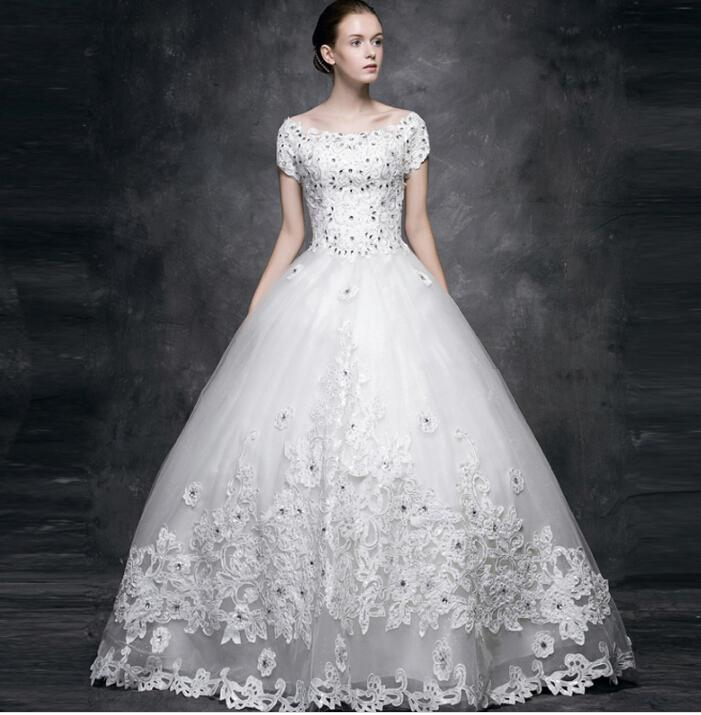 Designer Wedding Dress 2015 Elegant Short Sleeves Lace And Tulle Ball Gown Bridal Gowns Custom