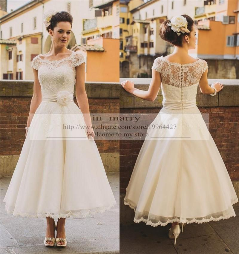 Tea length vintage lace plus size wedding dresses 2016 a for Country style lace wedding dress